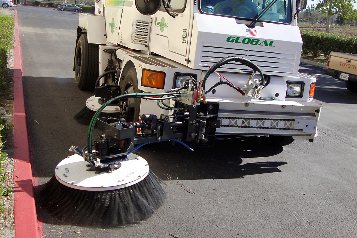 Front Articulating Broom on Global M4 m4 global environmental products