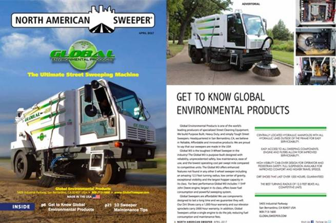 Global M3 On Cover of North American Sweeper Magazine